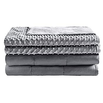 Image of Anjee Weighted Blanket 20 lbs for Adults with Removable Minky Dot Cover, 60 x 80 Inches Heavy Blankets Suitable for Full Size Bed, Grey Anjee B07QQRMKQ6 Weighted Blankets