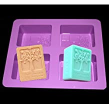 4 hole Candle Square Mold Happy Tree Food-grade Silicone Soap Silicone Molds Bake A Cake Baking Tools
