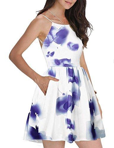FANCYINN Women Sexy Spaghetti Strap Floral Print Mini Casual Dress (X-Small, (Juniors Skater Dress)