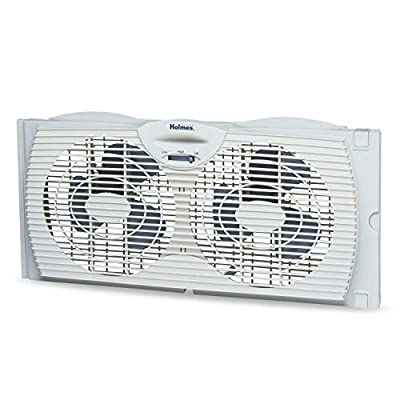Holmes Window Fan with with Twin 6-Inch Reversible Airflow Blades, White