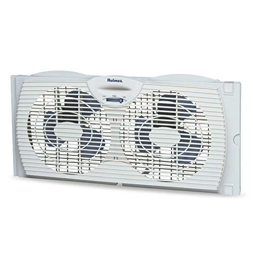 (Holmes Window Fan with Twin 6-Inch Reversible Airflow Blades, White)