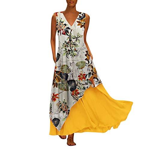 V Neck Plus Size Long Dress Women Vintage Splicing Floral Printed Sleeveless Maxi Dress (Plus Coctel Size Women Dresses)