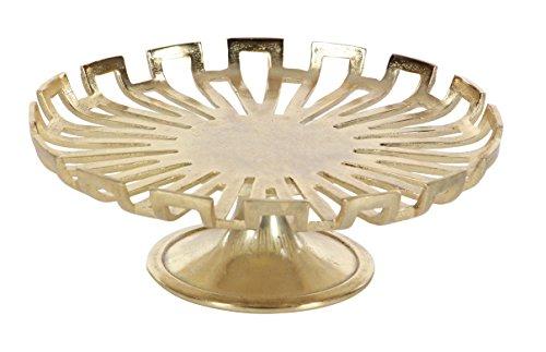 """Deco 79 68982 Round, Aluminum Metallic Gold Cake Stand, 15"""" Diameter x 5"""" H"""