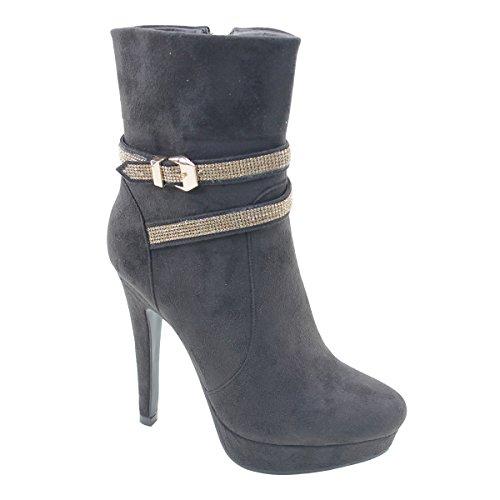 New Brieten Womens Rhinestone High Heel Platform Short Boots Coffee Int47vepR