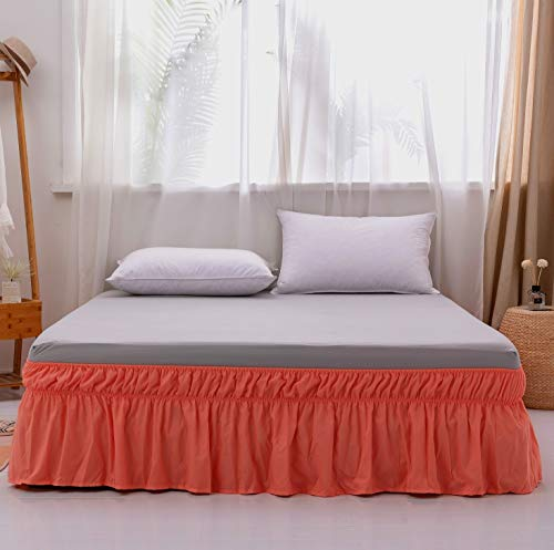 AYASW Bed Skirt 14 Inch Drop Dust Ruffle Three Fabric Sides Wrap Around (Queen or King Coral) Brushed Microfiber Adjustable Elastic