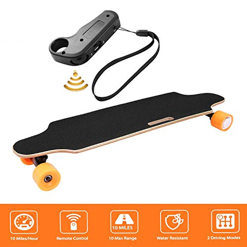 shaofu Electric Skateboard Youth Electric Longboard with Wireless Remote Control, 12 MPH Top Speed, 10 Miles Range (US Stock) (Gamboge)