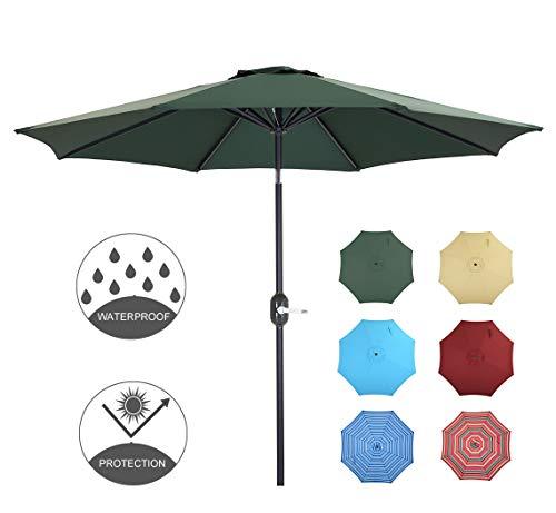 Patio Watcher 9 Feet Patio Umbrella Outdoor Umbrella with Push Button Tilt and Crank for Market, Backyard, Pool, Garden, Deck, 8 Ribs, Dark Green