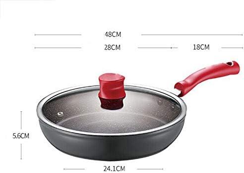 Poêles à frire/Poêle antiadhésive,couvercle en verre antidéflagrant, revêtement antiadhésif facile à nettoyer, 28cm