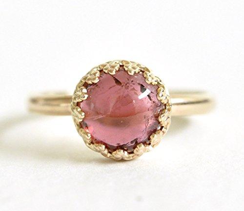 Pink Tourmaline Ring – 14k Gold Ring – Dainty Yellow Gold Engagement Ring – Pink Gemstone Ring