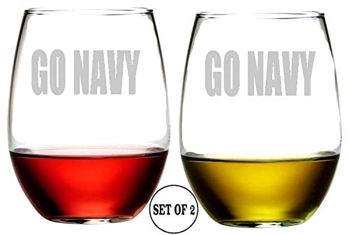 Go Navy Stemless Wine Glasses | Etched Engraved | Perfect Fun Handmade Present for Everyone | Lead Free | Dishwasher Safe | Set of 2 | 4.25