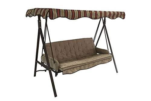 Garden Treasures 3 Person Red Hammock Swing - Turns Into a Bed (Porch Beds Swing)