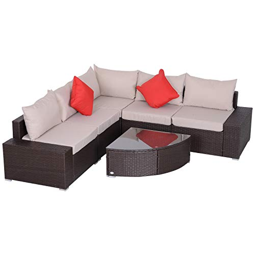 Outsunny 6 Piece Outdoor Patio Sectional Sofa Furniture Set L-Shape Corner Wicker Rattan Wedge Fan Shape Table with Cushions