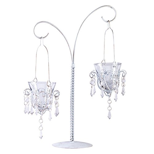 """Pack of 4 Metal 17"""" Mini Chandelier Design Table Decor w Glass Candle Holder"""