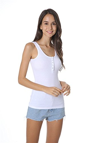 JOHN CABOT Women Tank Top,Soft Button Sleeveless Knit Ribbed Cotton Tank Tops,White