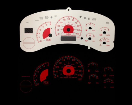 Brand New White Face Red Indigo Reverse Glow Gauges For 99-02 Silverado Full Size Truck (I-240rd) (White Reverse Glow Gauge)