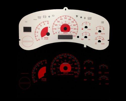 Brand New White Face Red Indigo Reverse Glow Gauges For 99-02 Silverado Full Size Truck (I-240rd) (Glow Gauge Reverse White)