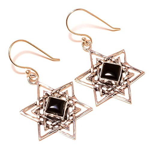 jaivav Mid Night Black Onyx Cabochon Round Gemstone Silver Plated Handmade Star Drop Dangle Earrings for Women - Onyx Earrings Star