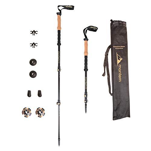(Montem Ultralight 3K Carbon Fiber Hiking/Walking/Trekking Poles - One Pair (2 Poles) ... (Black))