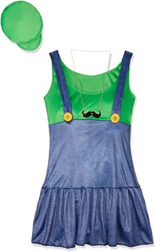Fun World Costumes Women's Pretty Plumber Adult Costume, Green/Blue, Medium/Large ()