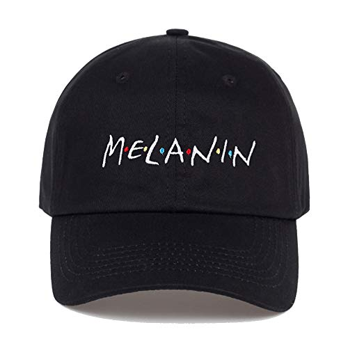 (YILINRUI Melanin Letter Embroidery Baseball Cap Women Snapback hat Adjustable Men Fashion Dad)