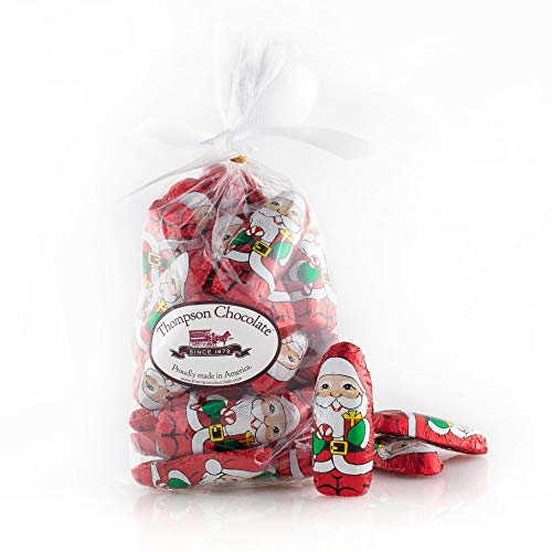 Santa Chocolate Foil - 2 LBS of Christmas Chocolate Mini Santas Wrapped In Christmas Italian Foil - Thompson Premium Milk Santa Chocolate