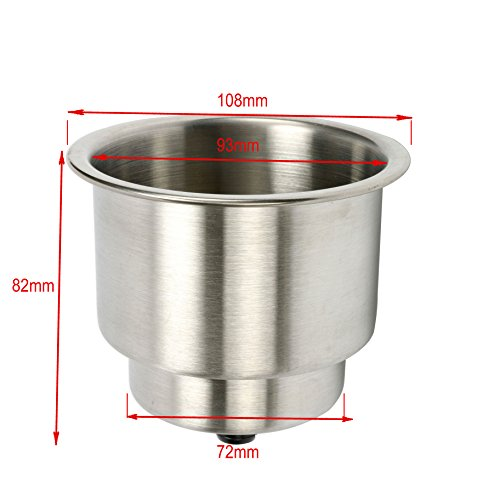 Amarine-made 2pcs Stainless Steel Cup Drink Holder with Drain Marine Boat Rv Camper by Amarine-made (Image #5)