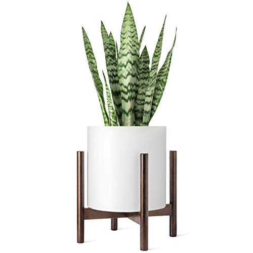 Mkono Plant Stand Mid Century Wood Flower Pot Holder Display Potted Rack Rustic, Up to 12 Inch Planter (Plant and Pot NOT Included), Dark Brown - Fleur De Lis Plant Stand