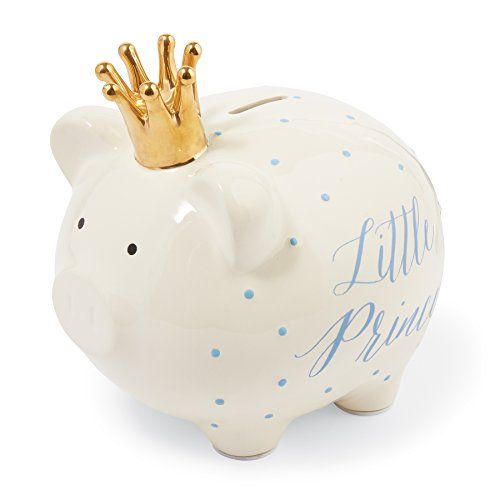 Mud Pie Jumbo Ceramic Little Prince Piggy Bank, White/Gold (Prince Little Keepsake)