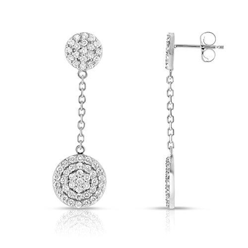 Noray Designs 14K White Gold Diamond (1 Ct, G-H Color, SI2-I1 Clarity) Circle Dangle ()