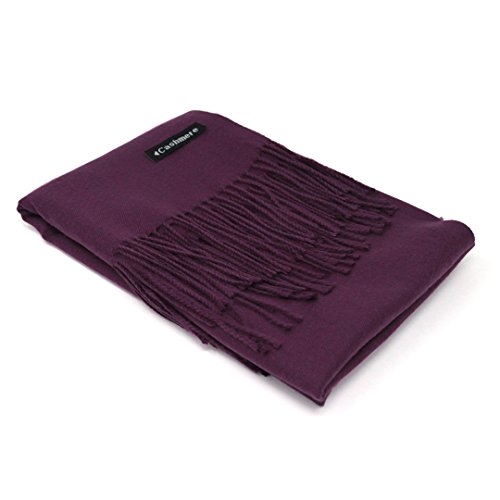 Purple Label Silk Scarf - Purple 100% Cashmere Scarf - Gift Box, Large Size, Removable Tag, Limited Availability