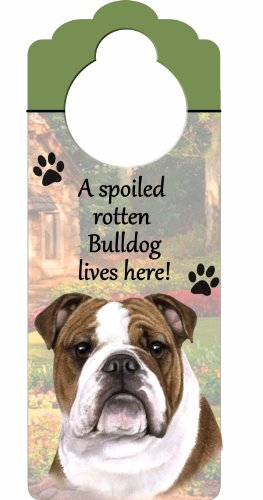 "Bulldog Wood Sign ""A Spoiled Rotten Bulldog Lives Here""with Artistic Photograph Measuring 10 by 4 Inches Can Be Hung On Doorknobs Or Anywhere In Home"