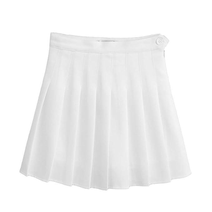 Tinksky Damen Minirock High Taille Faltenrock Schuluniform Größe M (Weiß)   Amazon.de  Bekleidung ddfa09ac04