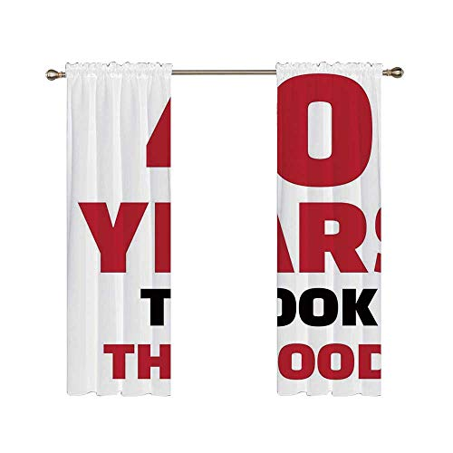 C COABALLA 40th Birthday Decorations Utility Shading Rod Curtain,Forty Years and Looking Good Confident Catchphrase for Home,70.4