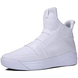 Soulsfeng Mens Casual High Top Sneakers Breathable Mesh Knit Ankle Boots Athletic Shoes(Men 8.5 US=EUR42) White