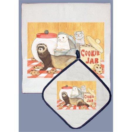 Pipsqueak Productions DP950 Ferret Dish Towel And Pot Holder Set WLM