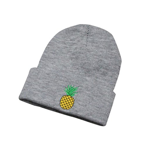 QingFan Women Girls Pineapple Embroidered Beanie Stocking Cap Cancer Chemo Turban Headbands Hip Hop Winter Crochet Hat Ski Knit Warm Cap (Grey)