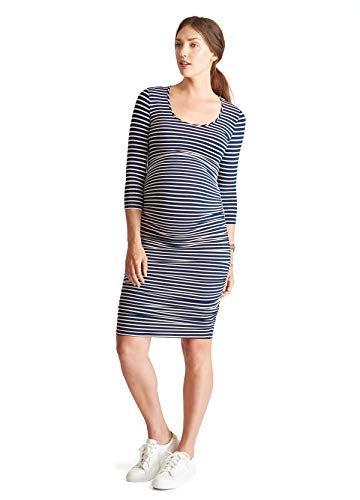 Shirred Dress Knit (Ingrid & Isabel Women's Maternity 3/4 Sleeve Shirred Dress, True Navy/Cream Stripe, Large)