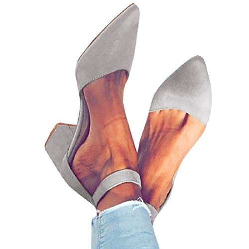 (FISACE Womens Low Mid Square Heel Ankle Strap Sandal Office Ladies Pointed Toe Pumps Shoe Grey)