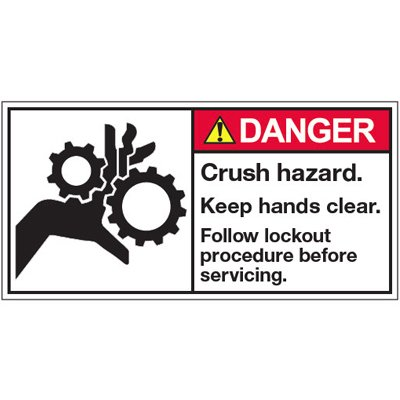 Vinyl ANSI Warning Labels - Danger Crush Hazard - 2''h x 4''w, White CRUSH HAZARD. KEEP HANDS CLEAR. FOLLOW LOCKOUT PROCEDURE BEFORE - Super-Stik Adhesive