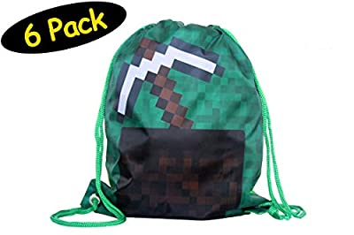 """Pixel Party Favor Bags Minecraft Favor Bags // Pixel Goodie Bags // Drawstring Backpack Pixel Party Bags // Gift Bags Kids Birthday Party Supplies // Reusable After School Gym Sports // Mining Gamer Craft, 6 Pack, 12"""" x 14"""""""