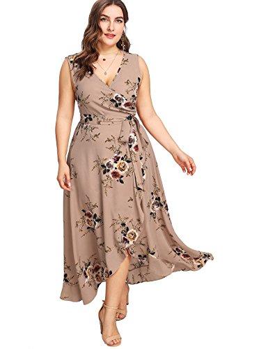 Milumia Women Plus Size Boho Wrap Dress Sleeveless Floral Easter Maxi Brown 0X