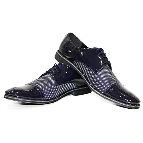 Modello Croppero - 46 - Handmade Italiano da Uomo in Pelle Blu Navy Scarpe da Sera - Vacchetta Pelle di Brevetto - Allacciare