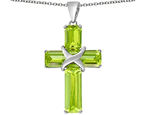 Star K Christian Cross Pendant Necklace with Emerald Cut Simulated Peridot and Cubic Zirconia Stones