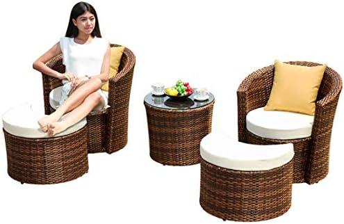 屋外用家具5ピース籐テーブルと椅子ティーテーブルスーツレジャー籐椅子ソファ組み合わせパティオバルコニー庭、プール、裏庭