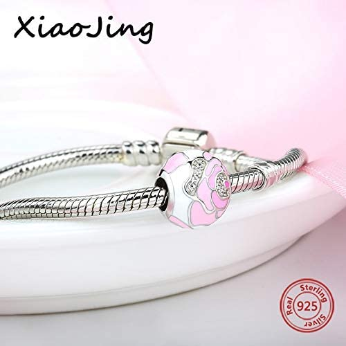 Calvas 100/% 925 Sterling Silver Rose Charms with Pink Enamel Flower Petal and Clear CZ Fit Original European Bracelets Jewelry for Gift