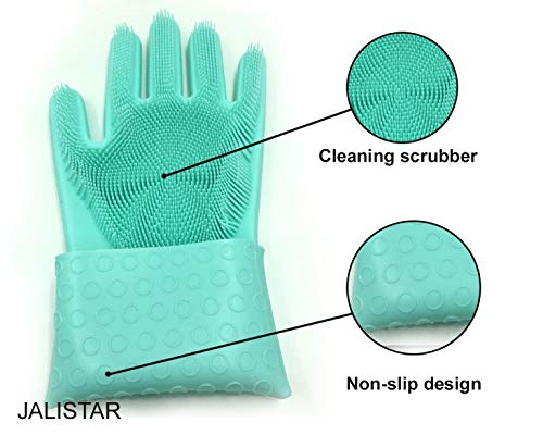 Green Pet Hair Care Fruits Vegetables Washing Kitchen JALISTAR Silicone Dishwashing Cleaning Gloves and Household Cleaning Car Wash 1 Pair Heat Resistant with Wash Scrubber for Dish Washing