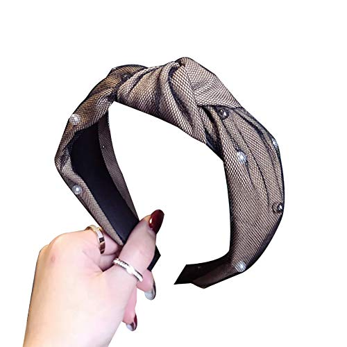 (Hair Hoop, Maserfaliw Double Layer Gauze Faux Pearl Women Knotted Hair Hoop Wide Headband Headwear, Party, Daily Life, Fashion Trends. Khaki)