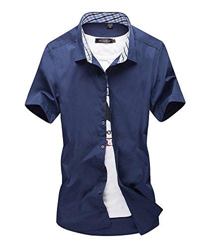 [スゴフィ]SGFY  メンズ ポロシャツ チェック柄の襟 無地 カジュアル シャツ ゴルフ ウェア (M, ネイビー)
