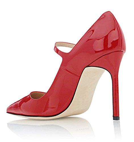 Sandali Tacco Alto Donna Mary Jane Scarpe Da Ufficio 10cm Stiletto Rosso