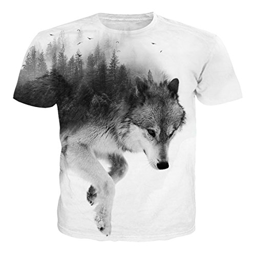 (Alistyle Casual 3D Wolf Print Short Sleeve T-Shirts Graphic Pattern Unisex Couple Tees Top Medium)